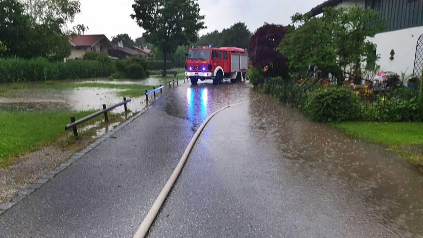 Plötzliches Hochwasser in Neubeuern
